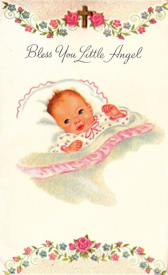 Vintage 1960s Bless You Little Angel Greetings by poshtottydesignz