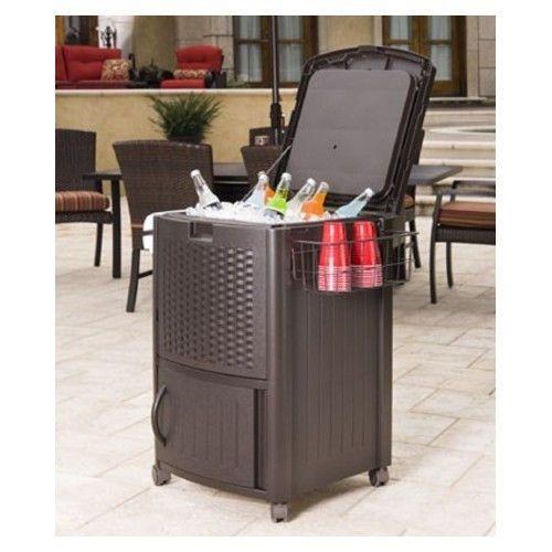 wicker furniture patio cooler deck furniture drink