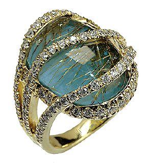 .MARK SILVERSTEIN 18K YELLOW GOLD TURQUIOSE AND DIAMOND RING