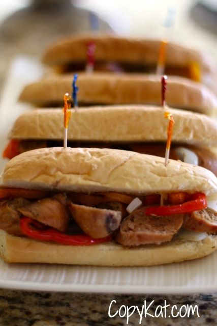 Grilled Turkey Sausages and Pepper Sandwich Recipe