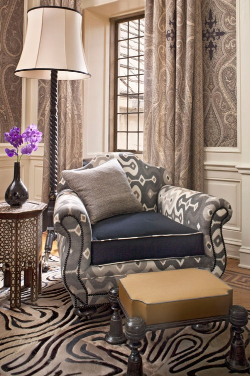 Wall Upholstery & Drapery: Pasha Paisley in Stone, 174803. http://www.fschumacher.com/search/ProductDetail.aspx?sku=174803 Chair Upholstery: Darya Ikat in Stone, 174833. http://www.fschumacher.com/search/ProductDetail.aspx?sku=174833 Throw Pillow: Alhambra Weave in Charcoal / Ivory, 65831. http://www.fschumacher.com/search/ProductDetail.aspx?sku=65831 #Schumacher