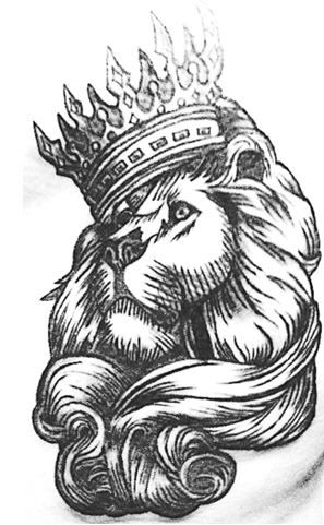 lion head with crown d...