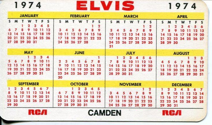 ELVIS PRESLEY 1974 RCA RECORDS COLOR PHOTO POCKET CALENDAR