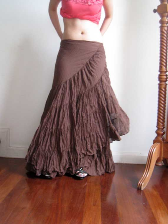 Wrapping Cotton Long Skirt Chocco Brown Ruffle Design