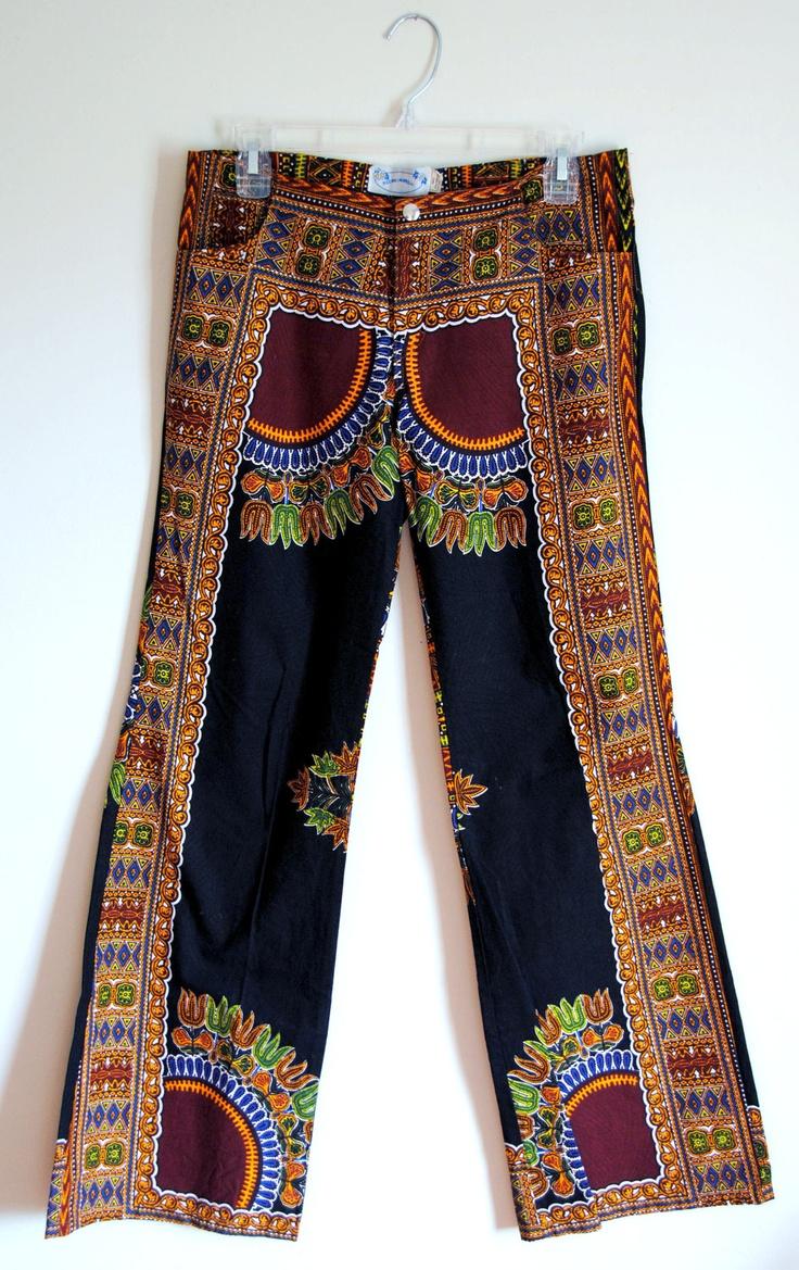 VTG. 70's Women's Hippie Boho Tribal African Fabric Hip Hugger/Bell