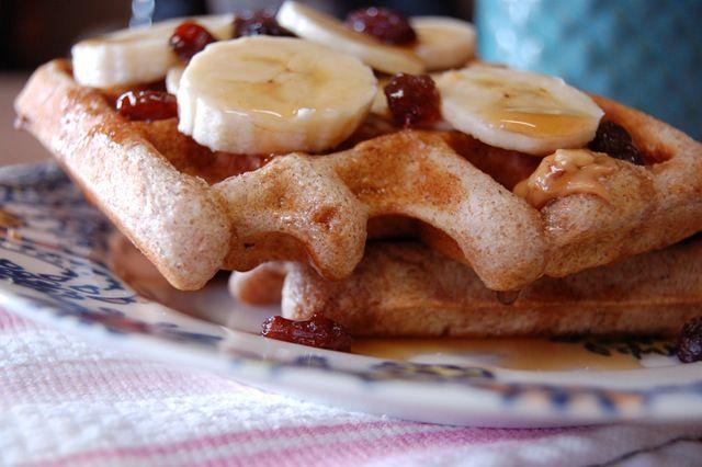 Whole Wheat Cinnamon Brown Sugar Peanut Butter Waffles