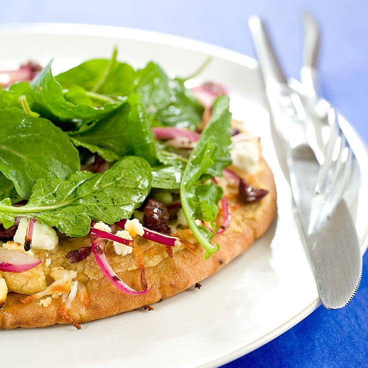 Greek Pita Pizzas - Cook's Country | vegetarian entre | Pinterest
