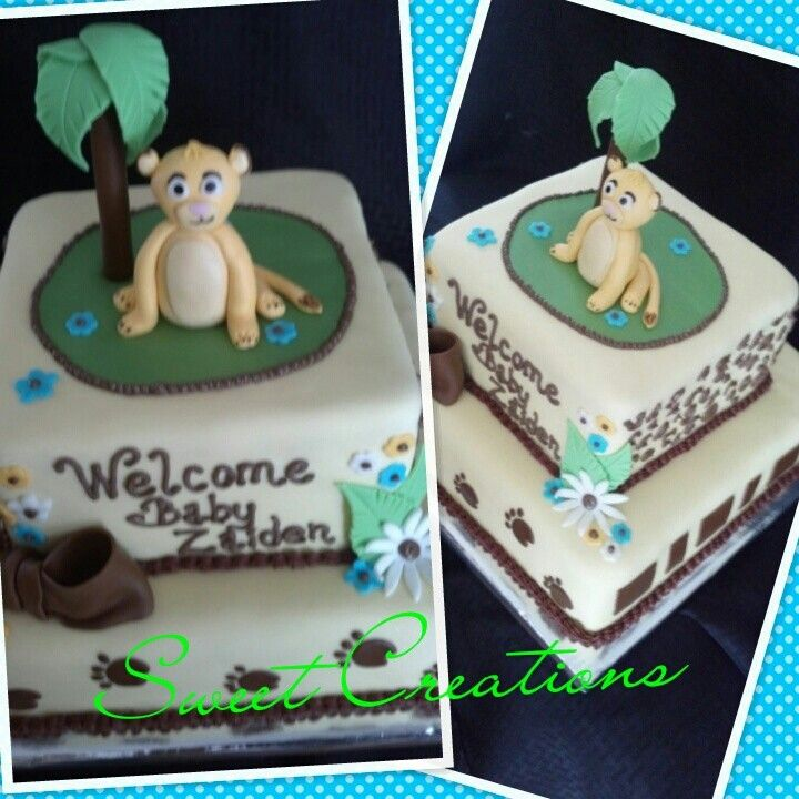 Baby shower lion king fondant cake. Simba. Sweet Creations by Marley