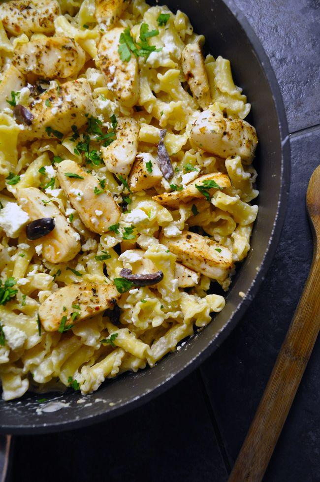 Pasta with Tilapia, Olives & Feta with Greek Yogurt Sauce   Recipe