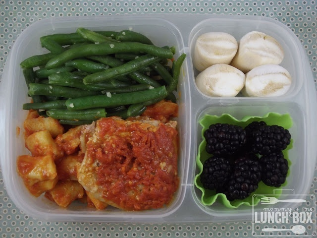 ... gnocchi in sauce, green beans, blackberries, and caramel marshmallows