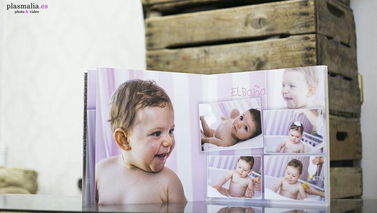 Fotografía de un álbum fotográfico de bebé acabado.