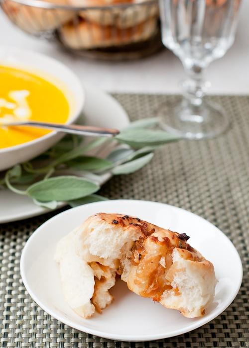 Caramelised onion, sage and cheddar rolls
