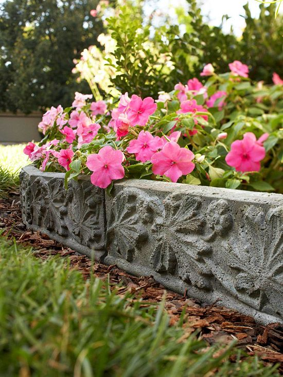 Cast in stone diy landscape accent for Diy flower bed edging ideas