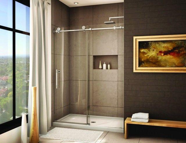 Frameless glass shower doors modern realestate pinterest for Shower tub doors brass