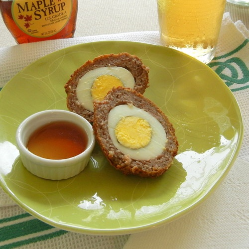 my scotch egg ~ hard boiled egg and pork sausage breaded in cornflakes ...