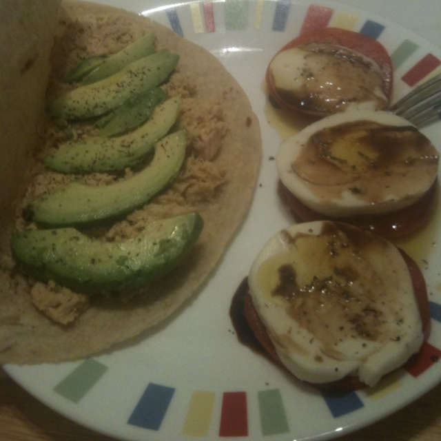 Tuna, avocado and hummus wrap with tomato and mozzarella without the ...