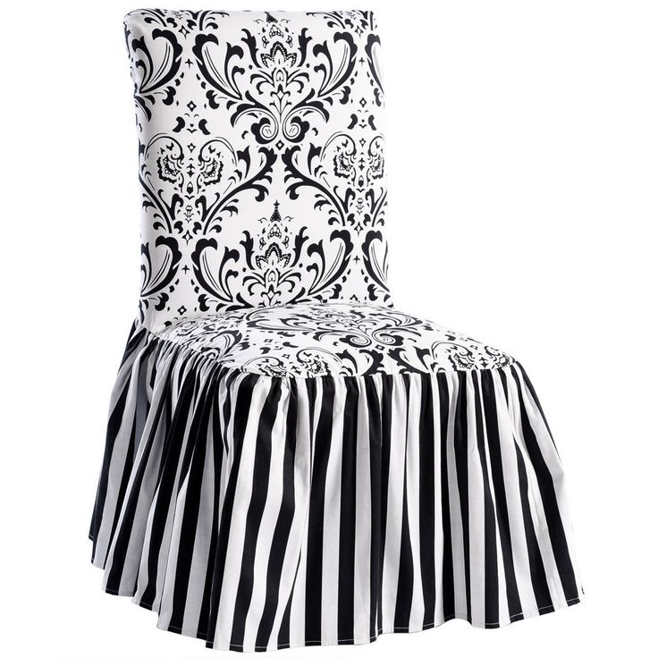 black white damask and stripe dining chair cover set of 2 - Black And White Striped Chair