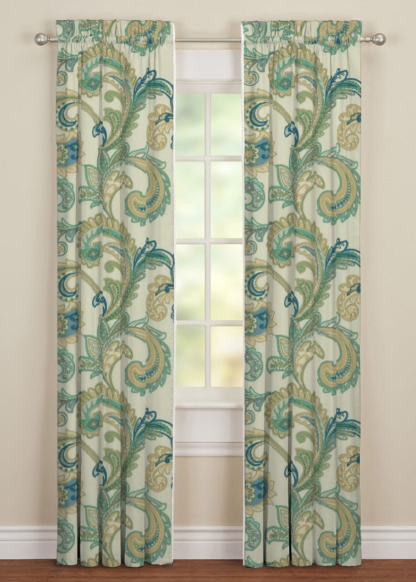 Pull String Curtain Rods Seafoam Green Swag Curtains