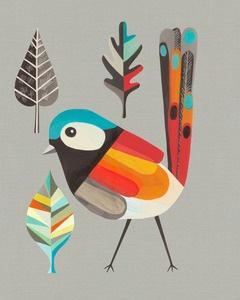 Red Winged Fairy Wren - by Kristina Sostarko + Jason Odd