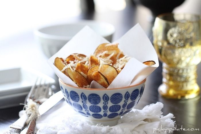 Bowl of Homemade Parmesan Potato Chips....for one :) - Picky Palate