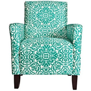 Overstock.com -angelo:HOME Sutton Modern Damask Turquoise Blue Arm Chair