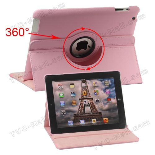 360 Degree Rotating The New iPad Leather Case with Stand - Pink