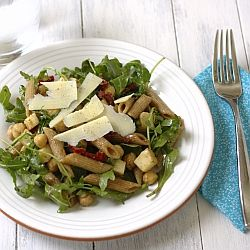 Arugula Salad With Penne, Garbanzo Beans And Sun Dried Tomatoes Recipe ...