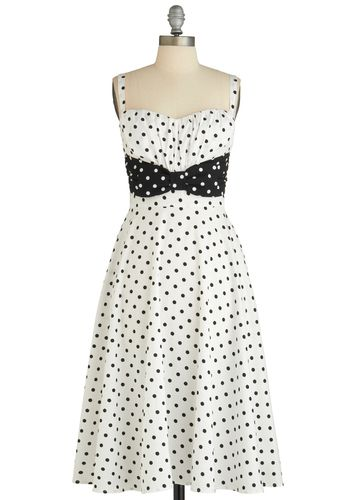 Modcloth polka dots black and white retro 50's