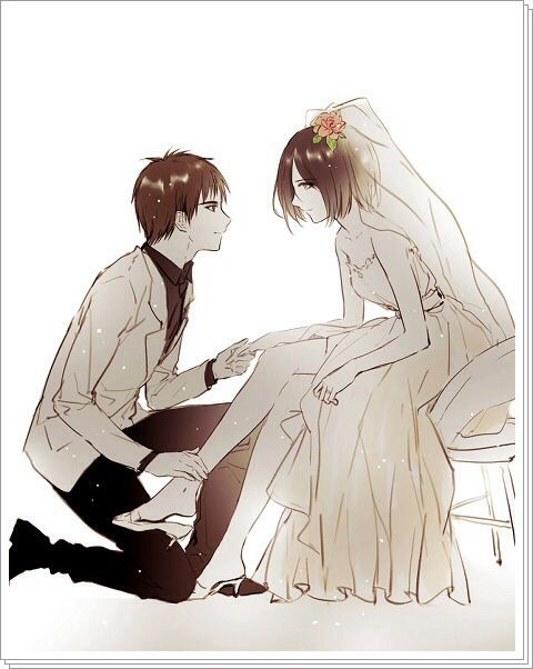Eren x Mikasa - SNK Attack on Titan   (Manga/Anime Art) オタク ...
