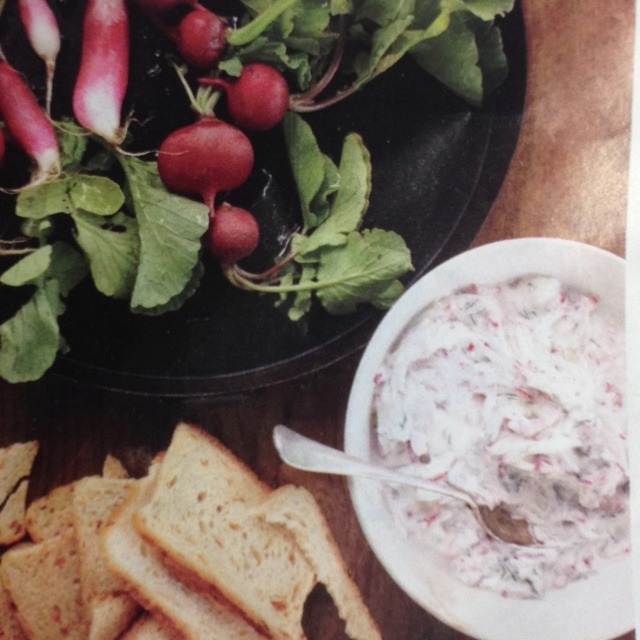 Radish Dip- 1 pound radishes, 1 1/4 cup sour cream, 3 ounces crumble ...
