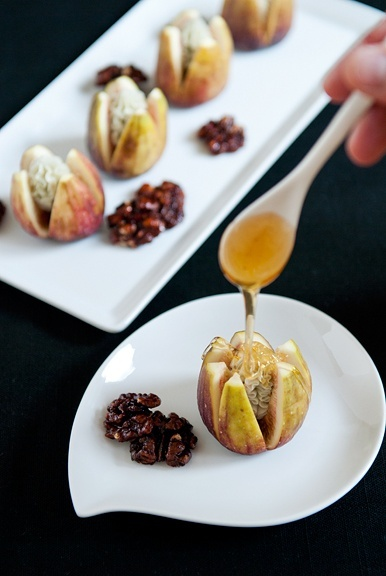 Figs with blue cheese and honey...interesting, I will have to try this