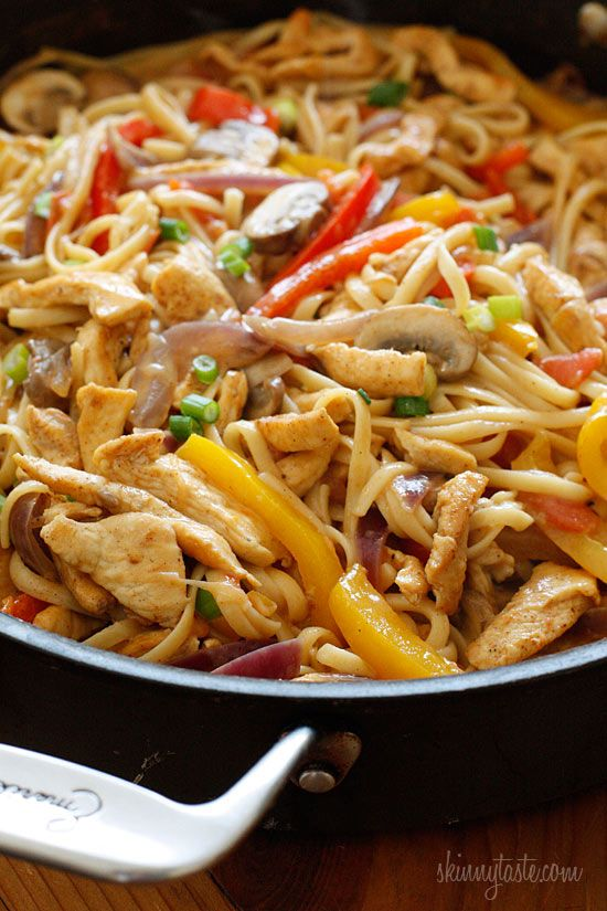 From Skinnytaste: Cajun spiced pasta tossed with chicken strips, bell peppers, red onion, mushrooms and scallions in a creamy light sauce.