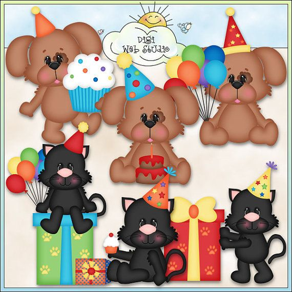 Birthday Cats and Dogs 1 Digi Web Studio Clip Art by ArtbyLeahRae, $3 ...