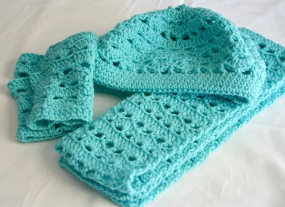 Hat scarf and fingerless gloves PDF Crochet Pattern Adult ...