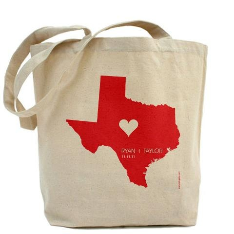 Personalized State with Heart, Names and Date - Custom 100% Cotton Canvas Tote Bag - FREE SHIPPING. $34.95, via Etsy.