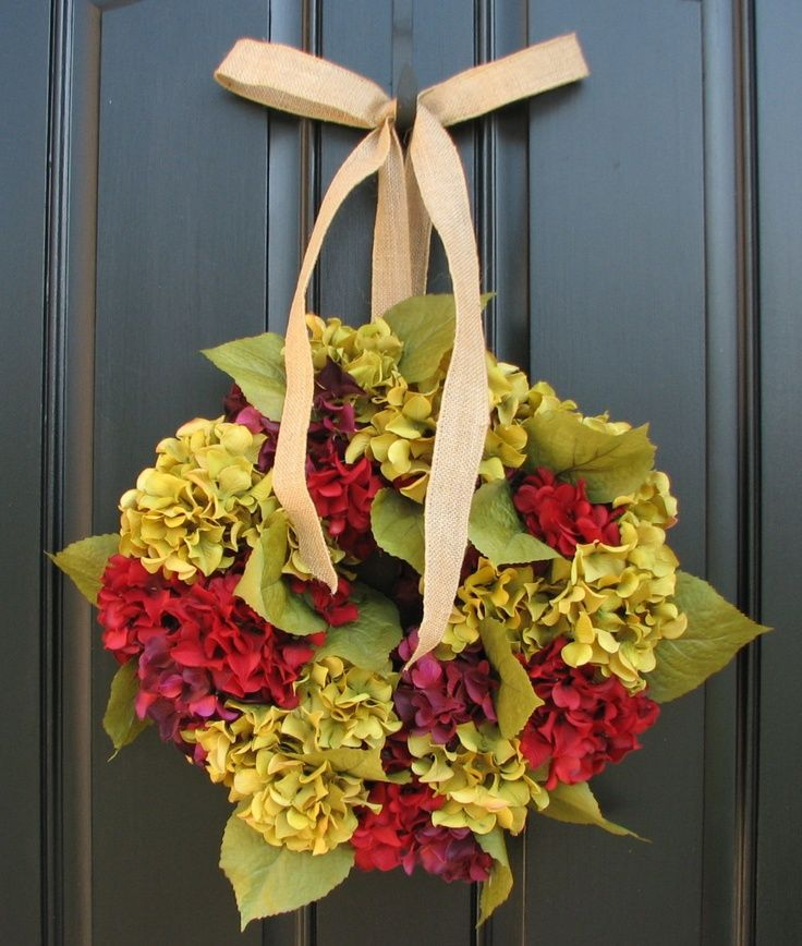Fall wreath autumn hydrangeas front door wreaths Fall autumn door wreaths