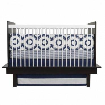 Oilo 3 Piece Crib Bedding Set (Wheels Motif Cobalt Blue) - www.rightstart.com