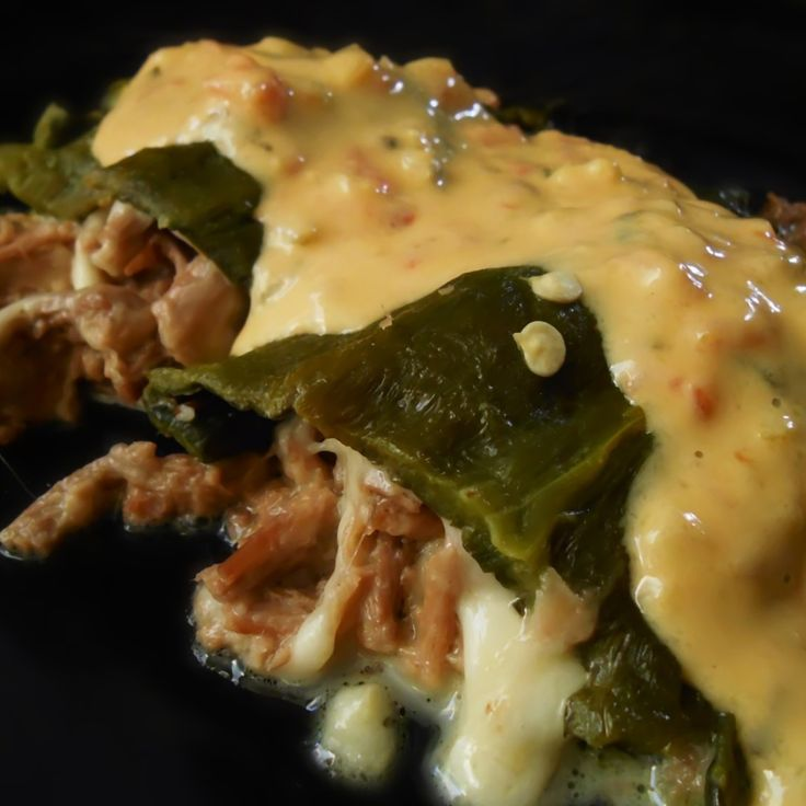 Creamy Chicken And Greens With Roasted Poblano And Caramelized Onion ...