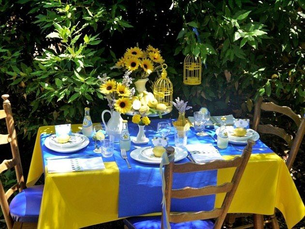 Blue and Yellow Table Setting Dining in the Open Pinterest : e1ac5e95c947ada751d3577b73750833 from www.pinterest.com size 630 x 472 jpeg 77kB