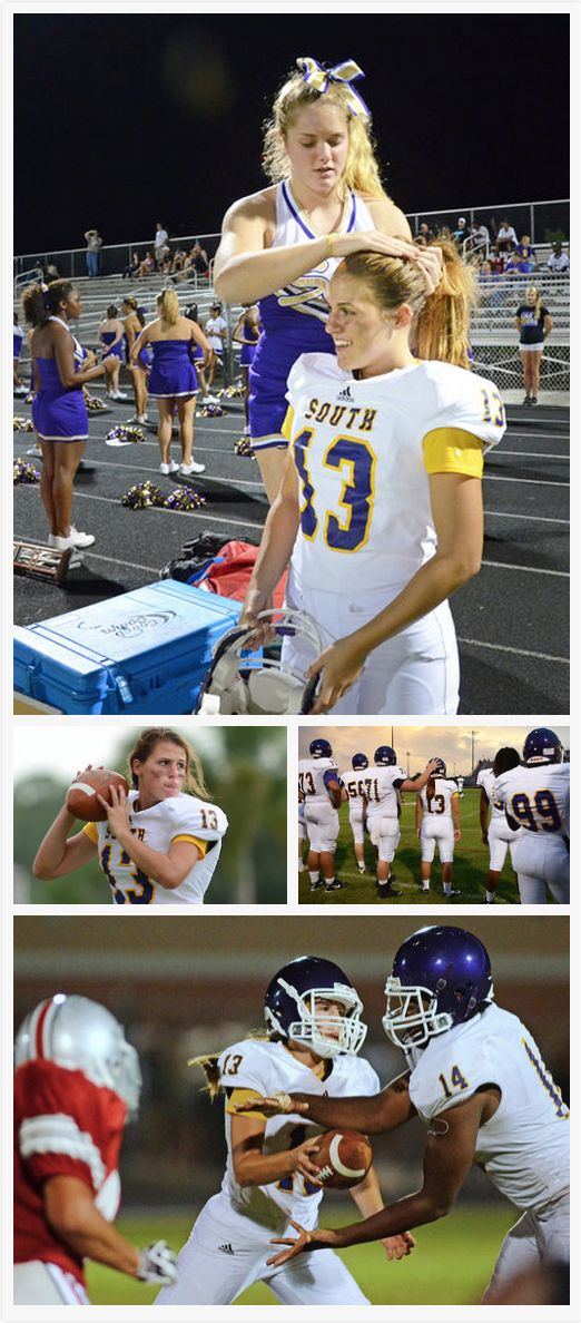 This girl is quarterback of her high school football team, and that cheerleader is her girlfriend!! Cheerleading, Footba...