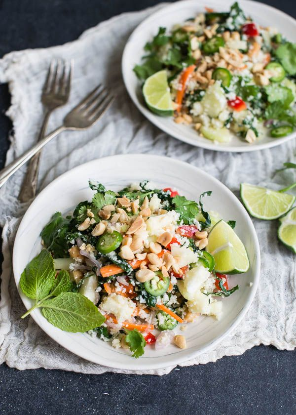 Thai Cauliflower Rice Salad #healthy | work | Pinterest