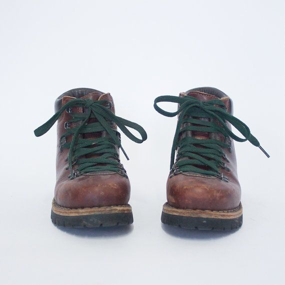 vintage 70s brown leather ll bean hiking boots trail boots
