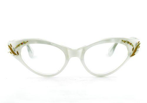 Eyeglass Frames With Pearls : Vintage Women Small Pearl White Cat Eyeglass Frames France ...
