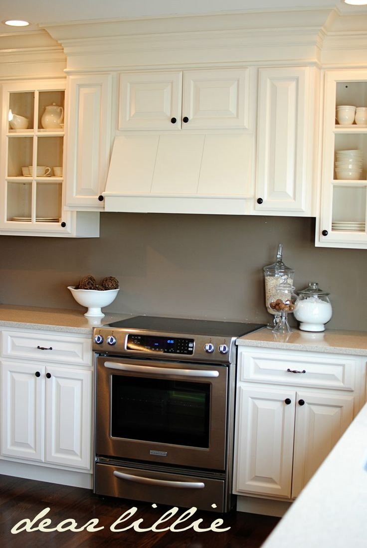 Cabinet color wall color black knobs new kitchen White cabinets grey walls
