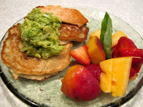 Wild Rice and Sweet Corn Pancakes with Guacamole & Smoked Salmon