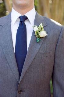 grey suit blue tie