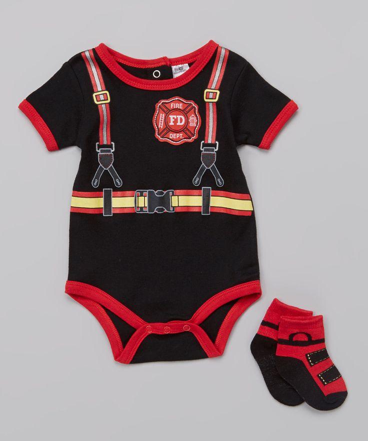 Baby essentials black firefighter bodysuit amp socks infant