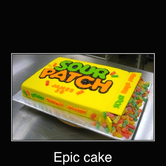 sour patch kid cake.. awesome :)