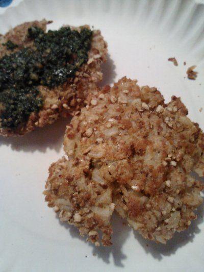 Fish Stick Rice Patty w/ Spinach Pesto