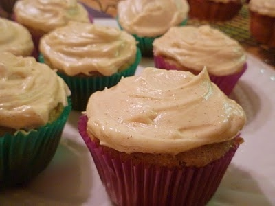 ... banana cupcakes with honey cinnamon frosting. YUM. this frosting is